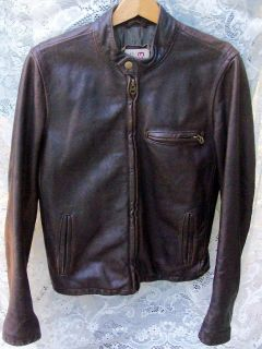 EZRA FITCH LEATHER CAFE RACER MOTORCYCLE JACKET abercrombie Excellent