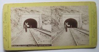 Flat Rock Tunnel Reading Railroad R R Pennsylvania PA Stereoview Train