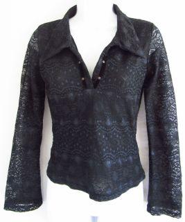 ANN FERRIDAY Lace Print Black Semi Sheer OS One Size Shirt Top Long