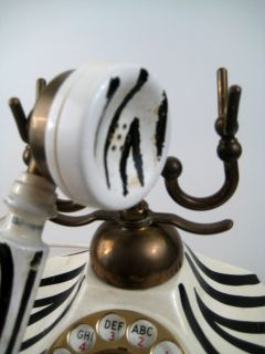Vintage New York Telephone French Style Rotary Phone Zebra Stripe and