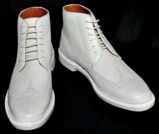 595 NEW Florsheim by Duckie Brown White BROGUE BT Leather Ankle Boots