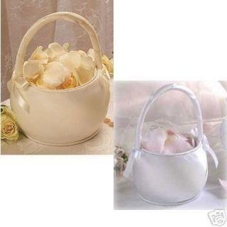 Round Satin Wedding Flower Girl Basket Flower Baskets