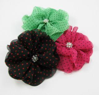 8Color Chiffon Hair Flower Clips Brooch Pin Hair Wear