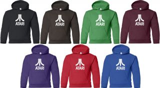 Atari Hooded Sweatshirt Retro Arcade Video Game Hoodie Cool 80s Hoody