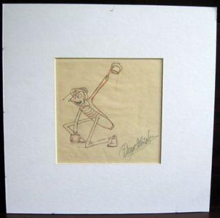 Animator Max Fleischer SIGNED Original Production Drawing