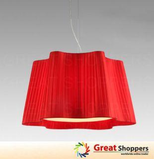 White Red Fabric Shade Ceiling Light Pendant Lamp Fixture Lighting