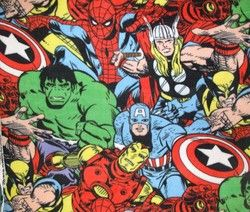 Avengers Super Hero Fleece Fabric Iron Man Hulk Thor Captain America