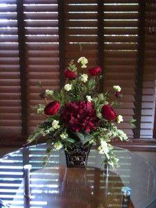Silk Floral Flower Arrangement Centerpiece Burgundy Hydrangea White