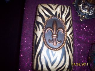 Cheetah Print Fleur de Lis Storage Jewelry Box Home Decor