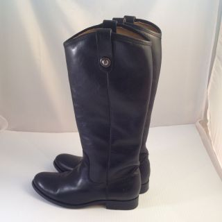 Frye Melissa Button Boot Black Soft Leather Tall 7 B Womens Pull On