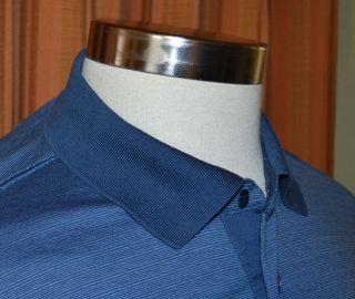 Faconnable Long Sleeve Blue Casual 100 Cotton Stripe Polo Shirt Mens