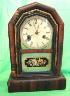 Antique New Haven Mantle Clock Parts or Decor Reverse Painted Glass