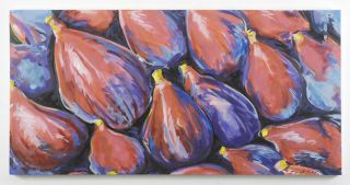 HUGE ART Modern Abstract PAINTING FIGS KITCHEN ELIZABETH Mukerji