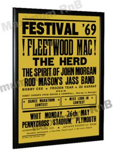 Fleetwood Mac Peter Green Concert Poster Plymouth 1969