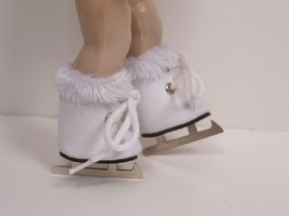 WHITE Faux Fur Ice Skates Doll Shoes For 8 Vogue Vintage GINNY♥