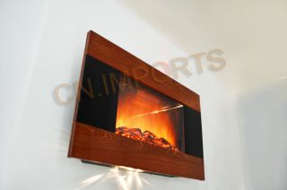 Mounted Wood Trim Panel Electric Fireplace Heater With Logs C510CL