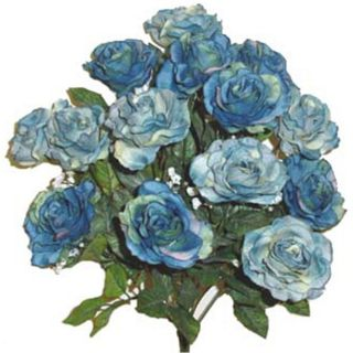 Open Rose Bush w 14 Blue Roses Silk Flowers Artificial Arrangements