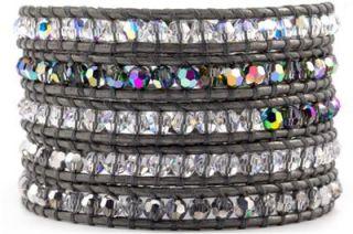Chan Luu Grey Crystal Mix Wrap Bracelet on Grey Leather