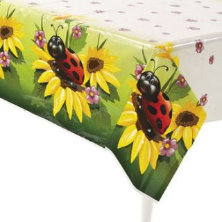 54 x 102 Ladybug Table Cover Lady Bug Insect Flowers Party Decorations