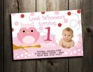 Owl Birthday Party Invitation Custom 1st Baby Shower Invites Girl Pink
