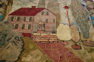 Pre 1900s Ultra RARE Antique Folk Art American Hooked Rug 6x7
