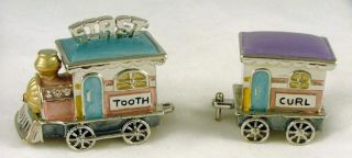 Pewter Babys First Tooth Curl Toy Train Trinket Box Set