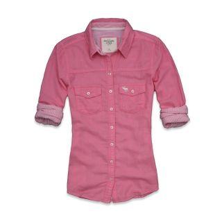 Abercrombie Fitch Women Stripe Classic Shirt Fallon Pink