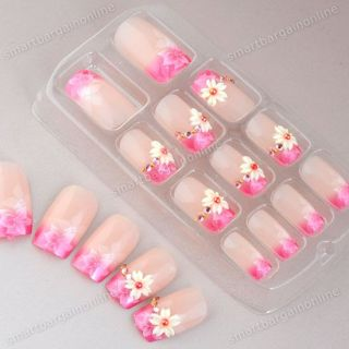 Flower Pink Pre Design French Acrylic Full False Nail Tips Art