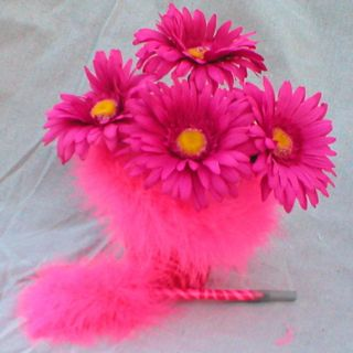 Pink Zebra Feather Flower Arrangement Flower Pen Pot Mothers Day Gift
