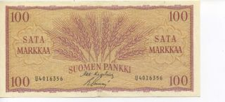 1963 100 Finlands Bank Hundra Mark Paper Note VF 30399