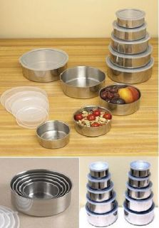 Stainless Steel Food Storage Containers Mixing Bowl Set W lids 2 Pack