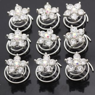 12pc Wedding Bridal Crystal Flower Hair Pins Twists 666