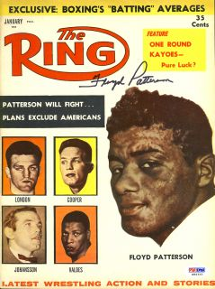 floyd patterson signed boxing ring magazine psa dna psa dna