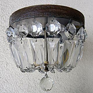 Vintage Flush Mount Coffin Crystal Single Light Socket Brass Cieling