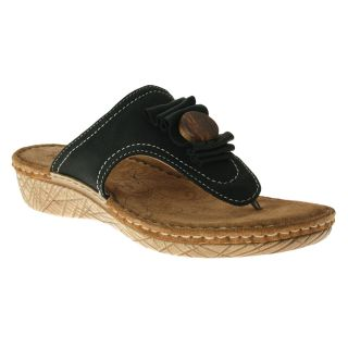 Fly Flot Willamette Leather Thong Sandal Black Womens Shoes All Sizes