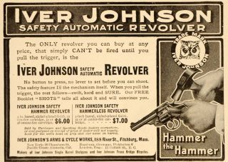 1907 Vinage Ad Iver Johnson Safey Auomaic Revolver   ORIGINAL