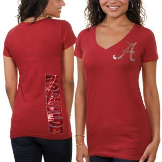 Alabama Crimson Tide Ladies Sequin Team V Neck T Shirt Crimson