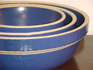 Blue Yellow Ware Bowl Nesting Set of 3 Stoneware Pottery Crocks