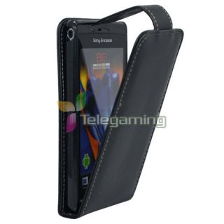 For Sony Ericsson Xperia Arc s x12 Black Leather Pouch Hard Case Cover