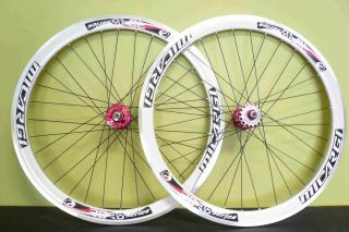 Fixed Gear BIKE 700C 40mm Front Rear Wheels Set White with Black