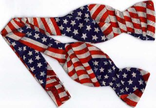 Self Tie Bow Tie American Flags Stars and Stripes