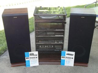 Fisher Stereo System w Cabinet and Speakers