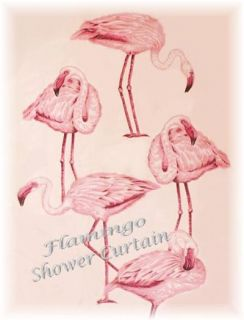 Tropical Pink Flamingo Shower Window Curtain Hooks NIP