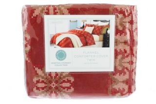 New Cross Stitch Red Flannel Cotton 68x86 Duvet Cover Twin BHFO