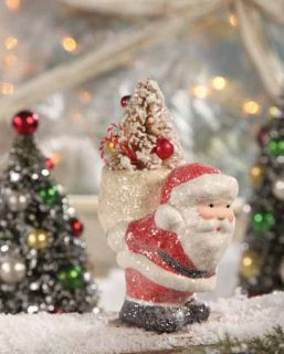 Pack on His Back Paper Pulp Christmas Figurine Teena Flanner