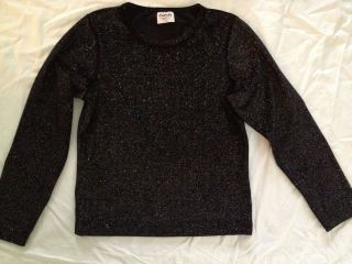 Flapdoodles Girl Sz 14 Black Sparkle Velour Holiday Shirt Top