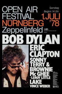 Folk Blues Bob Dylan Eric Clapton at Germany Comcert Poster 1978
