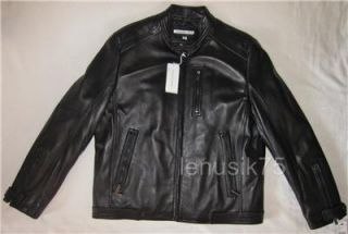 Mens Leather Jacket Motorcycle Biker Lamb Fonseca L Black