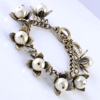 Fashion Bronze Faux Pearl Flower Chain Bracelet Wristband Korean Free