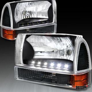 99 04 Ford F250 F350 F450 F550 Euro LED Headlights Corner Lamps Black